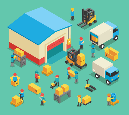 storage facility: Isometric moving cargo and warehousing employees. Warehouse storage, transportation logistic, storehouse industry and equipment. Warehousing and warehousing employees vector illustration