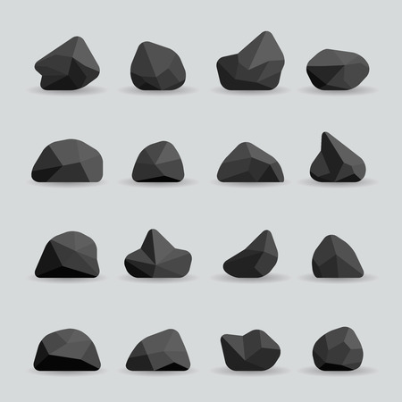 Black stones in flat style. Rock graphite coal or polygonal element. Polygonal black stones or poly rocks vector illustration Çizim