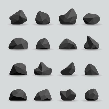 Czarne kamienie w stylu mieszkania. Skała Węgiel grafitowy lub wielokąta elementem. Wieloboczne czarne kamienie lub poli skały ilustracji wektorowych