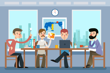 Business meeting. Team working in office. Work team, teamwork, idea and workplace corporate. Business meeting and team working vector illustration in flat style