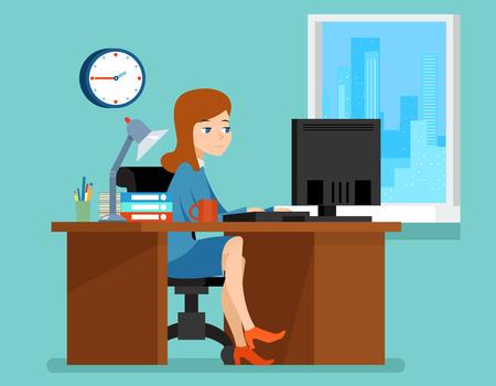 computadora caricatura: Mujer que trabaja en oficina en el escritorio con el ordenador. lugar de trabajo profesional. Mujer de negocios en el lugar de trabajo ilustraci�n vectorial en estilo plano Vectores