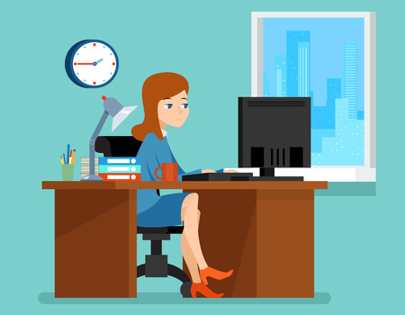 young worker: Woman working in office at the desk with computer.  Professional workplace. Business woman on workplace vector illustration in flat style