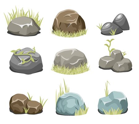 green grass: Rocks with grass, stones and green grass. Nature rock, illustration outdoor, environment plant vector. Vector rocks and vector stones
