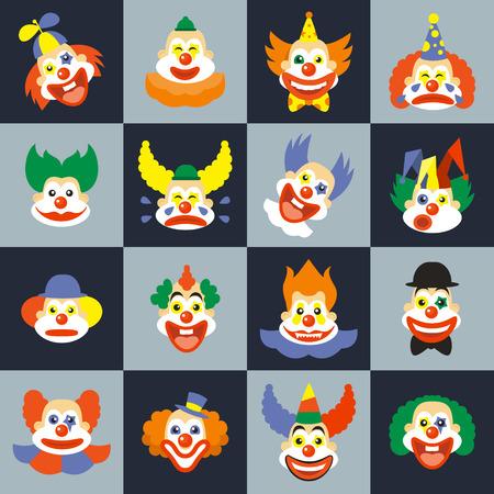 Clown zestaw twarzy. cry character z włosami w kostium, karnawał cyrk twarze. Clown twarze ilustracji wektorowych