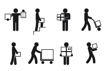 Livreur pose. travailleur Courier, marchandises et colis, recevoir et envoyer. Livraison homme pictogramme, vecteur icônes de livraison