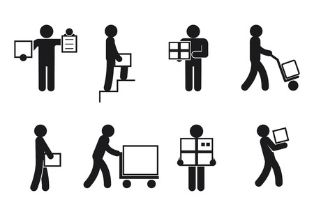 Delivery man poses. Courier worker, merchandise and package, receive and send. Delivery man pictogram, delivery vector icons