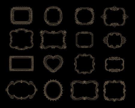 decorative frames: Hand-drawn frames for celebrations and wedding cards.  Hand drawn frames and hand drawn border elements. Ornament decorative vector illustration