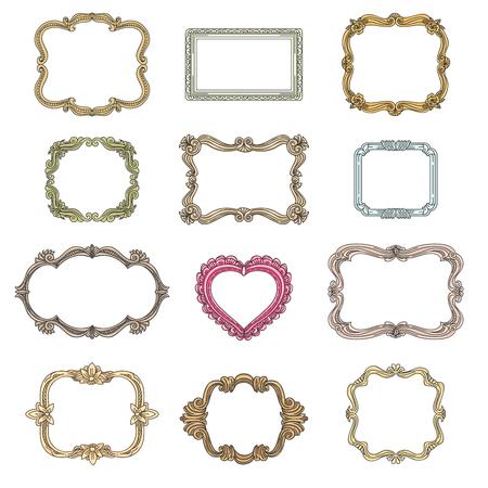 marcos decorativos de la vendimia. el elemento de decoración, marcos decorativos ornamento para la boda, cuadros de época conjunto ilustración vectorial