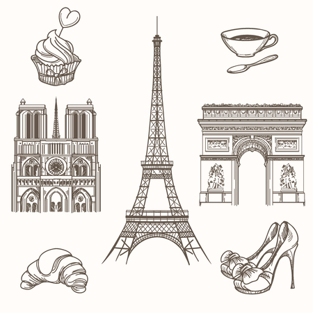 dame: Hand drawn Paris symbols. French tourism and tower eiffel, notre dame and croissant icons. Hand drawn Paris signs vector illustration Illustration