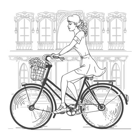 Fachada: ciclista chica en París. Ocio mujer joven, los desplazamientos urbanos, ciudad de la moda. dibujado a mano hermosa chica en la ilustración vectorial de París