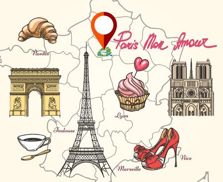 Paris France symbols. Tower eiffel, triumphal arc, cathedral and tourism.  Hand drawn Paris France map vector illustration