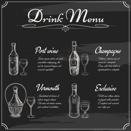 port wine: Drink menu elements on chalkboard. Restaurant blackboard for drawing. Hand drawn chalkboard menu vector illustration