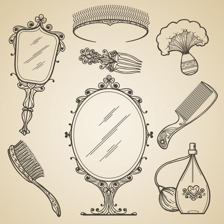 Dibujado a mano la belleza de época y elementos retro maquillaje. doodle de la moda y el espejo esbozo. belleza de la vendimia de maquillaje retro iconos vectoriales