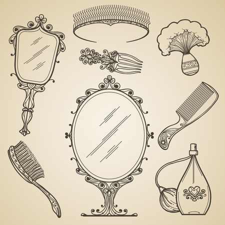 woman in mirror: Hand drawn vintage beauty and retro makeup items. Fashion doodle and sketch mirror. Vintage beauty retro makeup vector icons