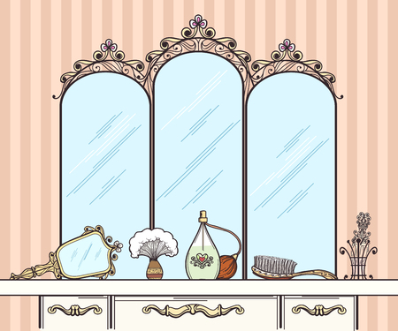 dressing room: Retro dressing table vector. Mirror and hairbrush, perfumes and cosmetics. Furniture interior dressing table with mirror in retro style vector  illustration Illustration