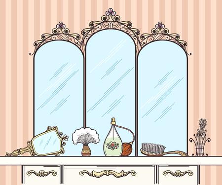 femme dessin: Retro vecteur de coiffeuse. Miroir et brosse à cheveux, des parfums et des cosmétiques. Meubles coiffeuse intérieur avec miroir vecteur style rétro illustration