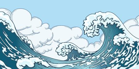 granola: gran ola del océano en el estilo japonés. salpicaduras de agua, el espacio de la tormenta, la naturaleza del tiempo. Mano vector dibujado gran ola