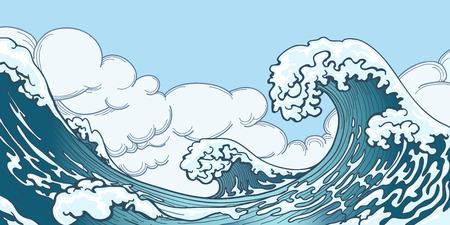 Ocean big wave in Japanese style. Water splash, storm space, weather nature. Hand drawn big wave vector illustration Vettoriali