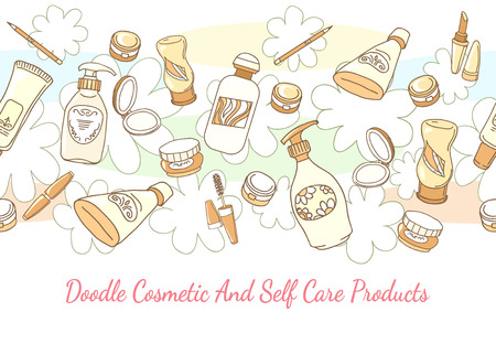 self care: Doodle cosmetic and self care products hand drawn background. Lotion and shampoo, tube and powder horizontal seamless pattern. Hand drawn cosmetic and self care products vector background