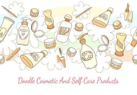 disegnato Doodle cosmetici e prodotti per la cura di sé a mano di fondo. Lozione e shampoo, tubi e polvere di seamless orizzontale. disegnate a mano cosmetici e per la cura di sé prodotti vector background
