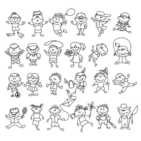 Doodle children on vacation. Boy and girl cartoon sketch , ball and fishing, diving and healthy sport sketch. Doodle children vector illustration Vetores