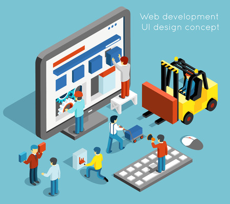 Web development and UI design concept in flat 3d isometric style. Technology website and computer interface design. Web UI development vector illustration Çizim