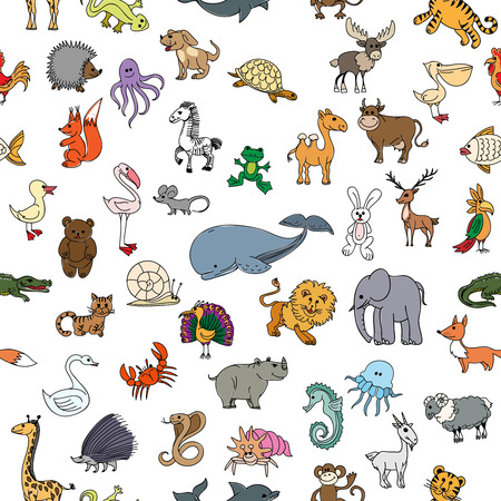 pheasant: Childrens drawings doodle animals seamless pattern. Crocodile and rhinoceros, pelican and frog, squirrel and bear, monkey and crab, cobra and whale. Childrens drawings animals or zoo pattern vector illustration Illustration