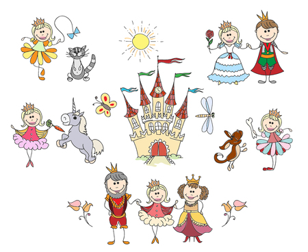 royal family: Children drawings for little girl. Family and king, fantasy drawing. Children little girl hand drawings vector illustration Illustration