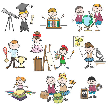cartoon school girl: Kids hobbies doodle drawings. Boy and girl, childhood and school education. Doodle drawings kids hobbies or hand drawn children hobby set vector illustration Illustration