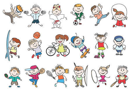 niños jugando: actividad deportiva niños. Baloncesto y tenis, fútbol y béisbol, saltan estilo de vida deportivo. niños Doodle actividad deportiva ilustración vectorial