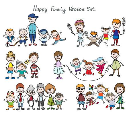 caras felices: Bosquejo del Doodle familia feliz. Padre y madre, niño chico y chica. Dé la ilustración vectorial boceto dibujado familia feliz