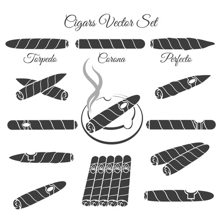 cigars: Hand drawn cigars vector. Torpedo corona and perfecto, culture lifestyle illustration. Vector cigar icons