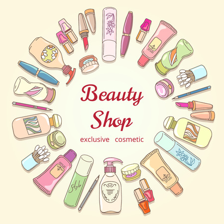 beauty shop: Beauty shop cosmetic label doodle vector frame. Lipstick and shampoo, powder and mascara, lotion bottle and cream icons. Hand drawn cosmetics for beauty shop poster Illustration