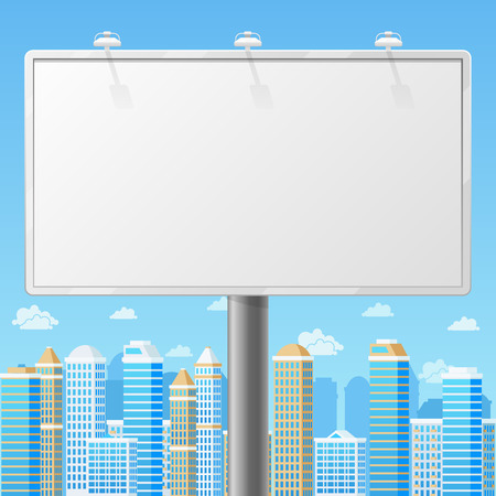 outdoor blank billboard: Blank billboard with urban background. Advertising commercial frame, advertisement blank, outdoor board or poster. Empty billboard with city background vector illustration