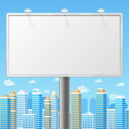 Cartellone bianco con fondo urbano. Pubblicità struttura commerciale, pubblicità bianco, bordo esterno o poster. Cartellone vuoto con la città illustrazione vettoriale