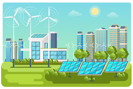 panels: Green energy urban landscape vector. Ecology nature, eco house building. Green energy eco city vector landscape illustration