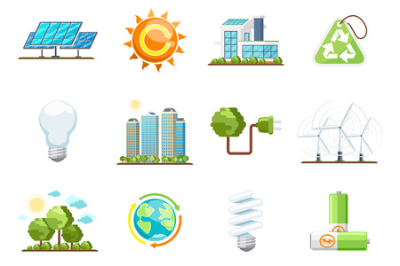 Green power icons. Eco clean energy set. Nature and environment, energy bio sun, recycling green energy vector icons