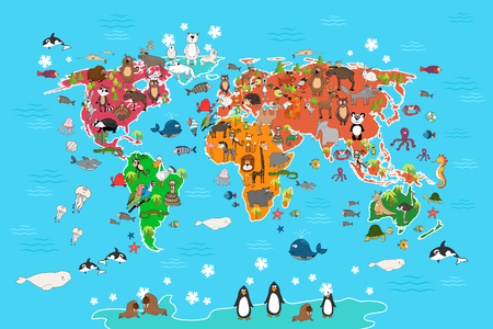 asia deer: World map with animals. Monkey and hedgehog, bear and kangaroo, hare wolf panda and penguin and parrot. Animals world map vector illustration in cartoon style