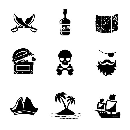 vessel: Pirates icons vector set. Skull and ship, pirates treasure map, pirates hat and sword. Pirates signs vector illustration