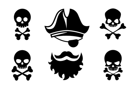 Pirate head vector icons with skull and crossed bones. Hat and bone, beard silhouette and mustache tattoo. Pirate icons with skull and crossed bones vector illustration