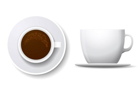 caffeine: Coffee cup isolated on white. Top view and side view white coffee cup. Coffee espresso beverage, breakfast and caffeine, cappuccino and saucer. Coffee cup vector illustration Illustration