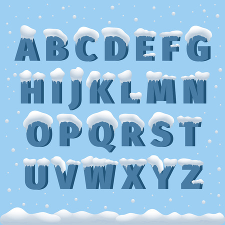alphabets: Winter vector alphabet with snow. Letter abc, ice cold font, season frost font, typography or typeset. Winter alphabet vector illustration
