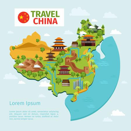mapa de china: China Travel mapa vectorial con puntos de referencia tradicionales chinas. Cultura asiática, el turismo país. China mapa de la ilustración del vector