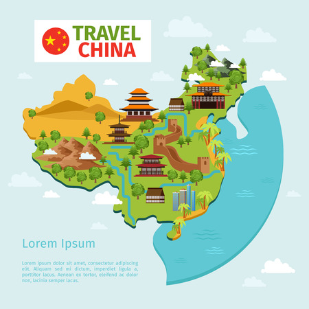 great wall of china: China travel vector map with traditional Chinese landmarks. Culture east asian, country tourism. China travel map vector illustration