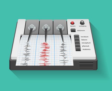 sismogr�fo: m�quina sism�grafo con el gr�fico de la actividad s�smica y el terremoto. sism�metro instrumento, gr�fico de la tecnolog�a, ilustraci�n vectorial Vectores