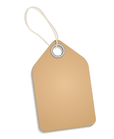 paper tag: Empty cardboard tag. Paper tag, price tag for retail, label on string, hang message, retro note. Cardboard blank tag vector illustration