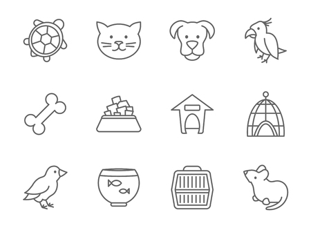 dog outline: Pets vector icon set in line art style. Mouse and aquarium, food for pet, kennel and bone, parrot fish and bird outline illustration Illustration