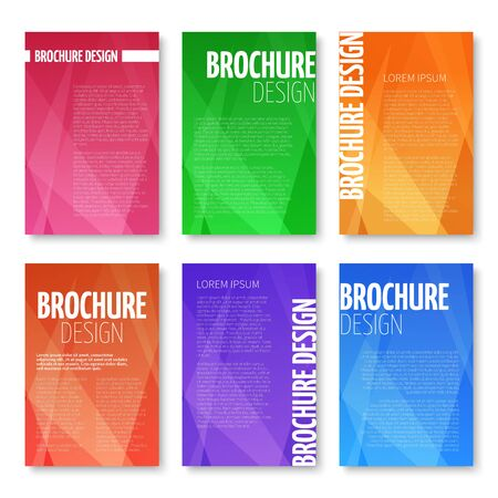 triangular: Brochures and UI vector templates set with abstract triangular pattern. Geometric background for business, cover poster banner illustration Illustration