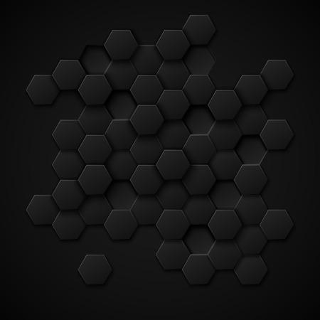 Resumen de antecedentes de vectores de tecnología de carbono. Diseño de metal negro, textura ilustración de material industrial