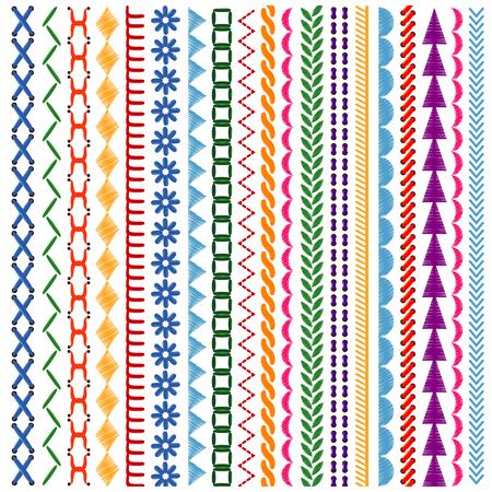 bordados: puntos de bordado vector patrones de costura y las fronteras establecidas. Étnica textil de la tela ornamento, ilustración vectorial